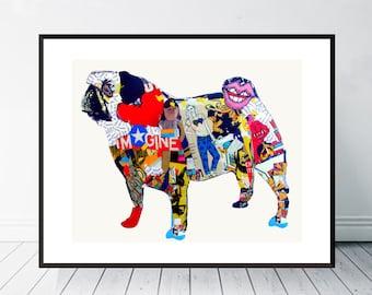 pug dog .pug dog portrait.pug dog poster. colorful pop dog art.dog art prints.dog art decor.dog portraits.giclee fine art prints.