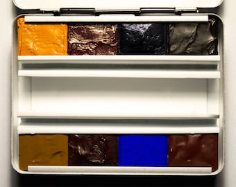 Handmade Artist Watercolour Paint Choose Your Own Half-pan Colours in Metal Pocket Palette Box