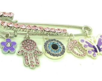 Luxury stroller pin, pink and purple stroller pin