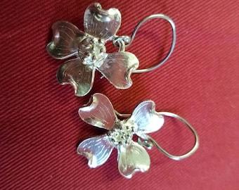 Fine Silver Dogwood Earrings