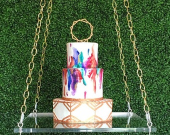 "Acrylic Cake swing - 18"" sq made in 1/2"" thick acrylic - includes eye bolts and C-clamps"