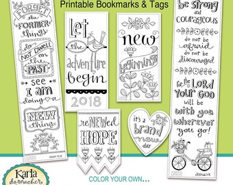 2018 NEW BEGINNINGS New Year Color-Your-Own Bookmarks  Bible Journa Tags Instant download Scripture Digital Printable Christian