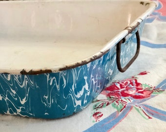 Vintage Enamelware Large Deep Tray, Robin's Egg Blue Swirl Graniteware with Hinged Handles,  Farmhouse Style, Rustic Graniteware Swirl Tray,