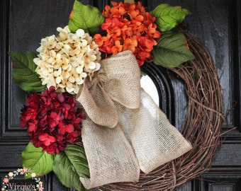 Front Door Wreath, Premium Hydrangea Wreath-Fall Wreath-Front Door Wreath-Autumn Wreath-Everyday Wreath-Thanksgiving-Mothers Day Gift