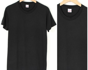 Vintage Basic Black T-Shirt - 1980s Faded Black T-Shirt - 80s Plain Black Single Stitch T-shirt - Goth Grunge T-shirt Made US
