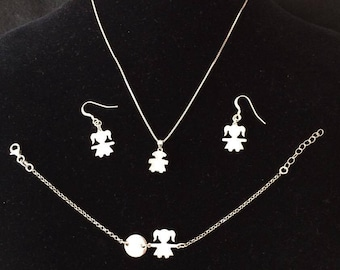 Necklace, bracelet and baby earrings-sets