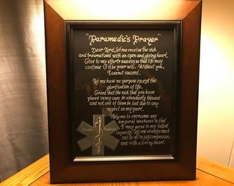 Paramedic's Prayer Glass Etching
