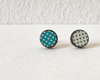 Pow! MINI - mismatch green&beige pois - Paper on Wood earrings - stud earrings - pois