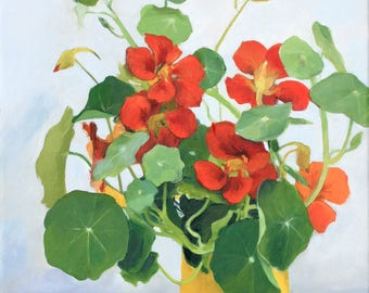 Original Oil Painting. Floral still life of nasturtiums in a yellow vase. Green, orange, gold, gray.
