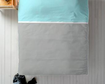 Blue Grey Duvet, Color Block Duvet, Queen Duvet, King Duvet, Twin Duvet, Minimal Bedroom Decor, Minimal Duvet Cover, Light Blue Duvet, Grey