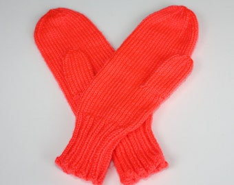 Neon Coral Knit Mittens - Adult Knit Mittens - Knitted Mittens for Adults - Womens Winter Mittens - Winter Accessories
