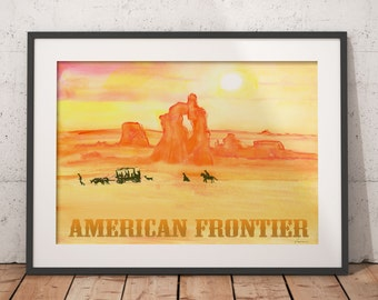 American Frontier, Printable wall art, Wild West art, Home decor, American history, Digital file, Watercolor painting, Instant download