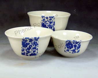 Porcelain Bowl Blue and White Fine China Porcelain Serving Bowl Set Hand Thrown Translucent Ceramic Nesting Bowls Pottery Mixing Bowls 2