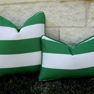 Green And White Outdoor Pillow Cover  Green And White Stripe Pillow Cover    Emerald Green