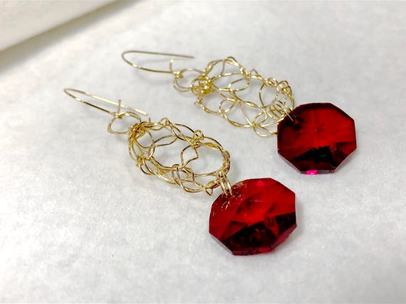 SJC10107 - handcrafted wire unique earrings, gold crochet earrings, ruby like earrings, red, unique wire earrings, wire chandelier earrings