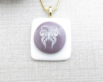 White Butterfly Pendant - Glass Butterfly - Purple and White Fused Glass Butterfly Necklace - Handmade Insect Jewelry - Butterfly Jewelry
