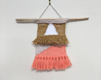 WHITE TRIANGLE  SMALL Woven wall hanging, weaving, textile art, fibre art, home decor, tapestry, wall art