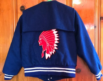 Vintage Mecca letterman jacket with Native American patch