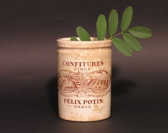 French Antique Jam Canister - Felix Potin Preserving Jars - Transferware Confiture Pot - Made in France - 1920 - French Earthenware