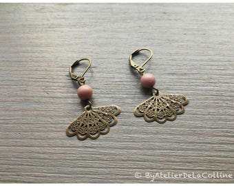 Art deco earrings with textured fan and rhodonite bead
