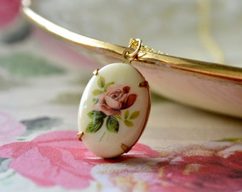 Vintage Rose Pendant, Flower Cameo Necklace, Pink Flower Necklace, Victorian Style Rose Jewellery, Nostalgic Gift, For Bridesmaid, Mum Gift
