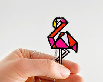 Neon Flamingo Necklace Bird Pendant Animal Jewelry Bird Necklace Geometrical Bird Pink Orange Black Fluorescent Necklace