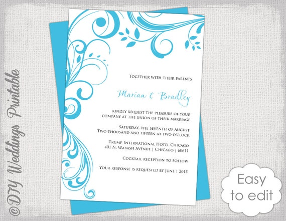 Wedding invitation template printable invitations wedding invitation template printable invitations turquoise malibu blue scroll you edit digital word template jpg instant download stopboris Images