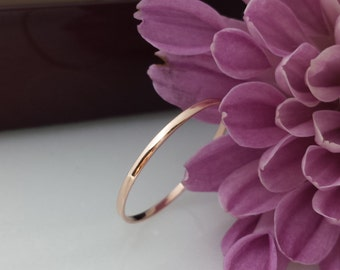 Thin rose gold ring 14 kt Solid Ultra Slim stacking ring, 1mm wide 14kt rose gold wedding yellow gold white gold wedding thin spacer ring