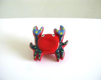 Red Crab Drawer Knob