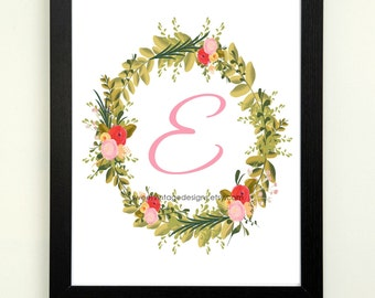 Letter E Printable, 8x10 Instant Download, Baby Girl Nursery Art, Nursery Decor, Floral Monogram, Letter Art, Baby Gift, Baby Shower Gift