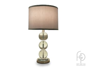 Triple Glass Ball Solid Crystal Table Lamp, Matching Glass Ball Finial  Straight Sided Shade Chrome