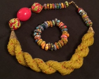 African bead necklace with bracelet;Ankara bracelet & necklace set; African beads; necklace set; necklace; bracelet