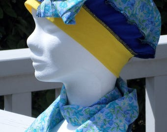 Turban Hat women jersey blue and Yellow Hat and scarf