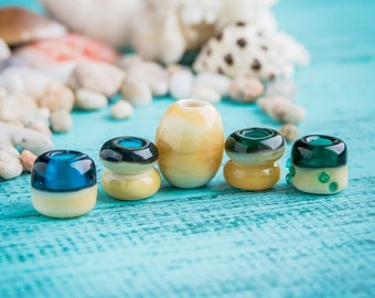 Sea dreadlock beads_artisan lampwork_ivory blue turquoise_handmade glass_hair beard beads_rasta hippie boho_tropical tribal_large hole_DIY