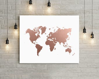 World Map Rose Gold Print, Office Decor, World Map Art, Travel Map,