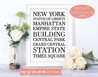 Printable Wall Art, Wall Art Prints, New York Wall Art, New York Print, Instant Download, Minimalist Print, Modern Art, Wall Art, Prints
