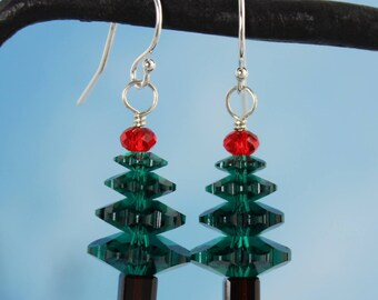 Crystal Christmas Tree Sterling Silver Earrings w/ emerald green and cherry red Swarovski crystals - free shipping in the USA - holidays