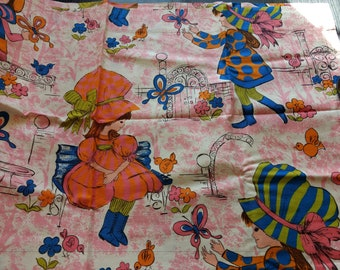 Adorable little girl pattern curtains, 1970s vintage fabric