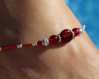 Red anklet, Silver Beaded ankle chain, Ruby Beach ankle bracelet