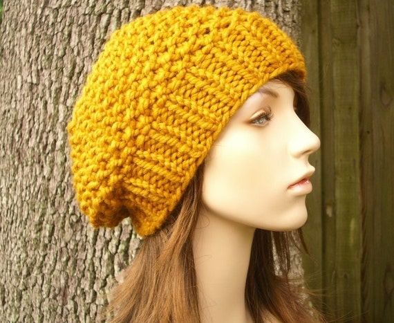 Knit Hat Womens Hat Slouchy Beanie - Seed Beret Hat Butterscotch Yellow Knit Hat - Yellow Hat Yellow Beret Golden Hat Womens Accessories