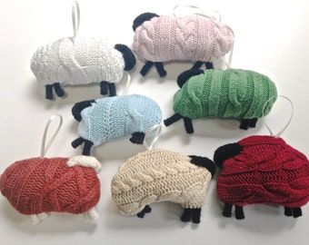 Cable Knit Sheep Ornaments Up Cycled Sweaters Hanging Lamb Ornament Holiday Christmas Decoration Tree Ornament Single Sheep