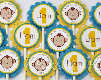 Blue and Yellow Boy Monkey Birthday Party Baby Shower Cupcake Toppers Picks Set of 12