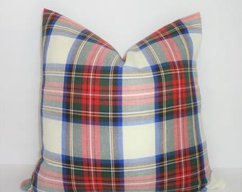 Holidays are HERE! Plaid is IN! Covington Plaid Pillow Cover 18x18 Red Green Cobalt White Pillow Cover
