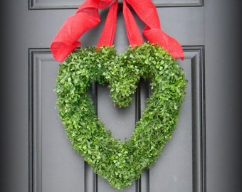 Valentines Day Wreath.  Heart Wreath.  Faux Heart Shaped Boxwood.  Faux Boxwood Wreath. Adore Your Door this Valentines Day.