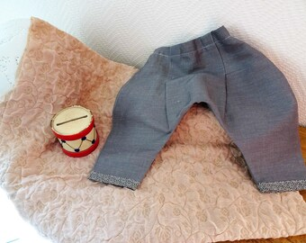 little harem pants for baby grey blue linen