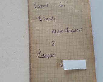 Antique French Booklet with Religious Songs - Nib Writing