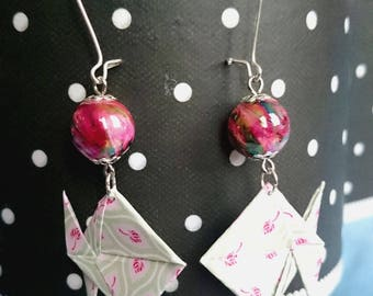 Pink origami paper patterns fish earrings