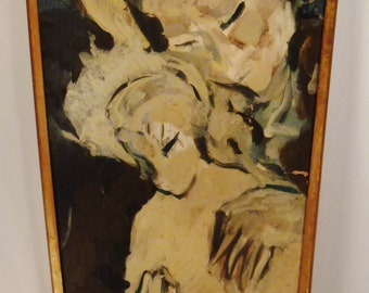 Impressionistic OIL  Mother and Child Original 1940's original frame 31 x 19 inches ready to hang