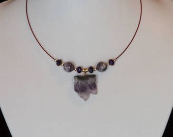 Amethyst Choker Necklace with Amethyst and Swarovski Beads