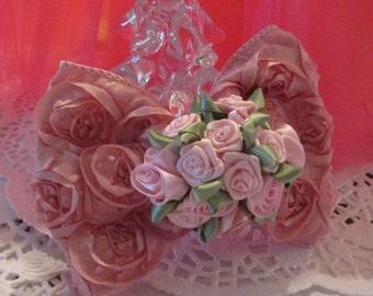 SUMMER SALE- Pink Rosette Ribbon Hair Clip Bow for Your Flower Girl